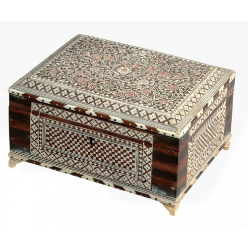 14 - <p>AN ANGLO INDIAN IVORY INLAID AND BRASS MOUNTED WOOD JEWEL BOX, HOSHIARPUR, C1880  the interior fi...