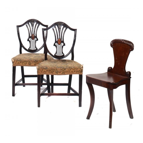 198 - A REGENCY MAHOGANY HALL CHAIR, C1820 with gadrooned back, 81cm h and a pair of George III carved and...