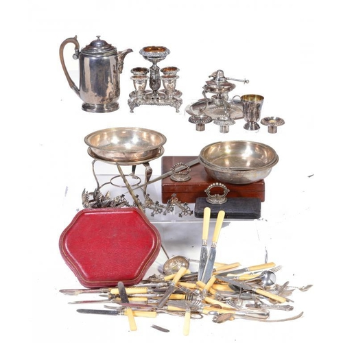 202 - MISCELLANEOUS PLATED ARTICLES, 19TH C AND LATER  to include an Old Sheffield Plate egg frame and cof...