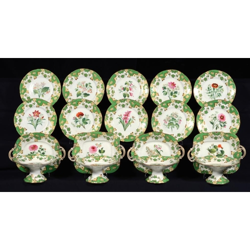 203 - A STAFFORDSHIRE BOTANICAL DESSERT SERVICE, PROBABLY SAMUEL ALCOCK, C1840  each piece painted with se...