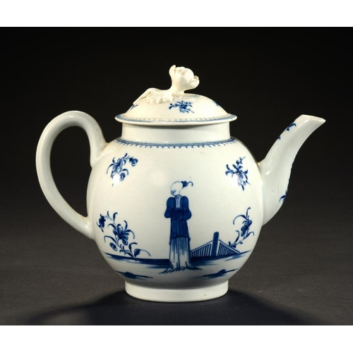 204 - A WORCESTER BLUE AND WHITE TEAPOT AND COVER, C1770  painted with the Waiting Chinaman pattern, 13.5c...