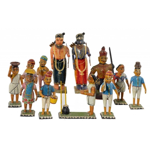 205 - TWELVE INDIAN CARVED AND PAINTED WOOD FIGURES, C EARLY 20TH C  8.5- 14.5cm h