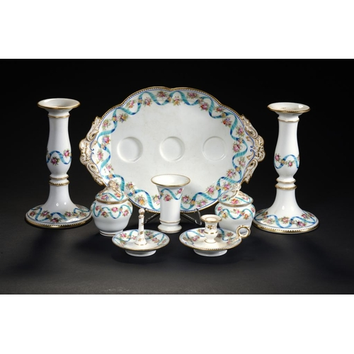 207 - AN ENGLISH  PORCELAIN INKSTAND, C1860   with shaped oval tray, pair of inkwells and covers and spill...