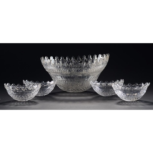 208 - A SET OF FIVE REGENCY OVAL CUT GLASS BOWLS FOR AN EPERGNE,  EARLY 19TH C 14.5cm and 30cm w...