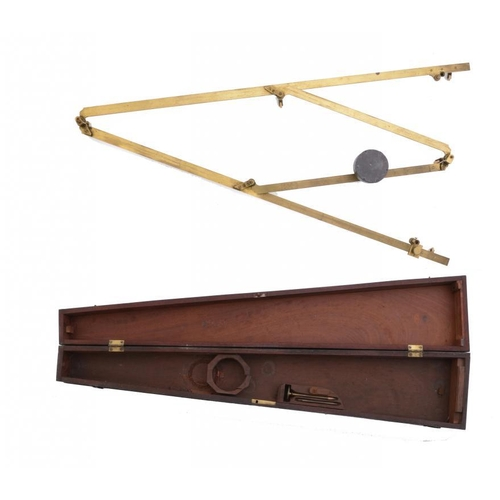 210 - AN ENGLISH BRASS PANTOGRAPH, EARLY 19TH C  with ivory wheels and lead weighted pivot, 83.5cm l, in f...
