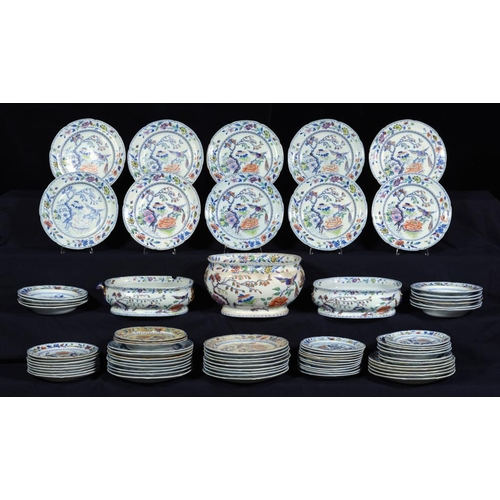 217 - AN EXTENSIVE DAVENPORT STONE CHINA DINNER SERVICE, C1820  transfer printed in underglaze blue and pa...
