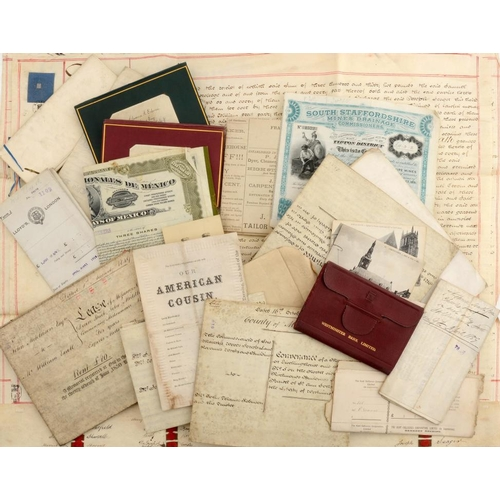 221 - MISCELLANEOUS PARCHMENT DOCUMENTS AND PRINTED EPHEMERA, 19TH C including cheques of the Gurney's Bir...