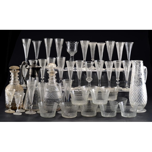 223 - MISCELLANEOUS GLASS, 18TH C AND LATER  to include a sweetmeat glass, c1750, Regency cut glass decant...