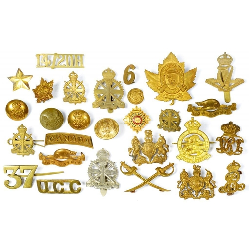 23 - <p>VARIOUS BRITISH AND COLONIAL MILITARY CAP BADGES, SHOULDER TITLES AND BUTTONS, 19TH & EARLY 20TH ...