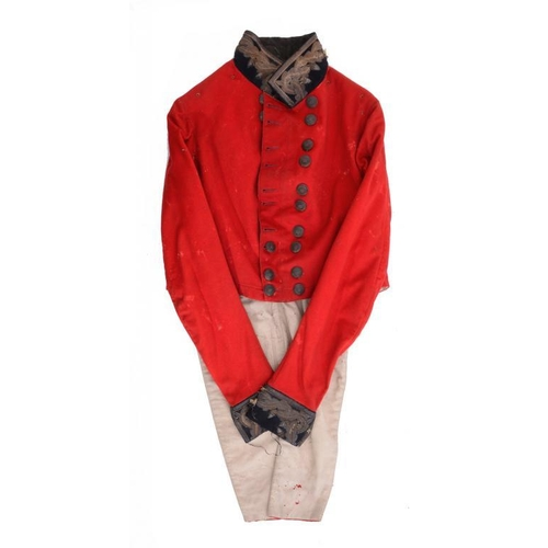24 - <p>A VICTORIAN ARMY OFFICER'S RED TAILCOAT  with metal thread, oak leaf and acorn collar and cuffs, ...