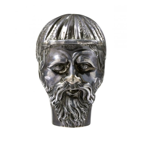 27 - <p>A  RARE SILVER SNUFF BOX IN THE FORM OF THE HEAD OF A DRUID, EARLY 19TH C the underside engraved ...