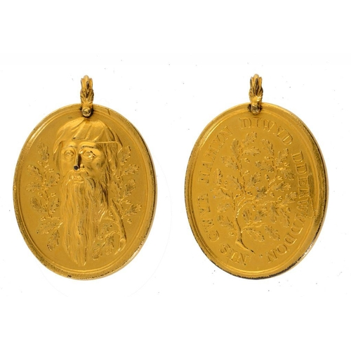 28 - <p>A COPPER GILT MEDAL OF THE DRUIDICAL SOCIETY OF ANGLESEY,  C1773   Type I, attributed Thomas Ping...