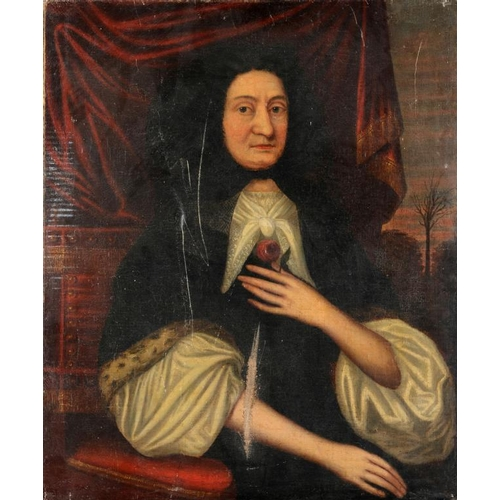 3 - <p>FOLLOWER OF JOHN RILEY PORTRAIT OF MRS LIVERSEDGE seated half length wearing a red dress and hold...