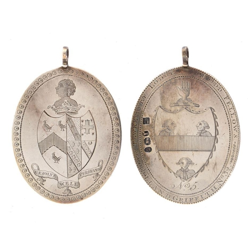 30 - <p>A GEORGE III SILVER FRIENDLY SOCIETY JEWEL obverse engraved arms reverse engraved arms circumscri...