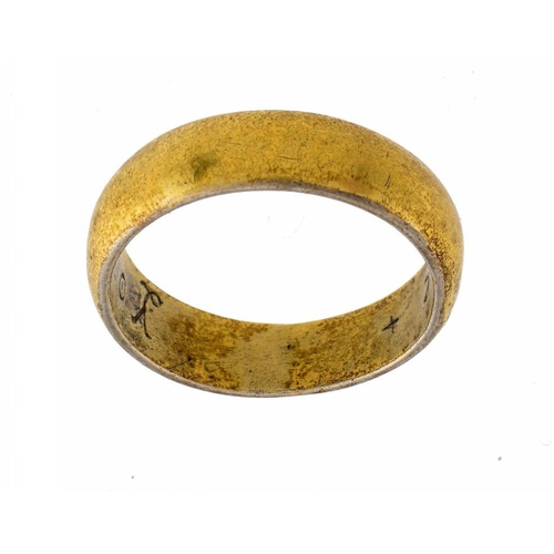 32 - <p>A POST MEDIEVAL SILVER GILT POSY RING, 17/18TH C inscribed Your Love + mi Life +, 4.5g, size O �<...