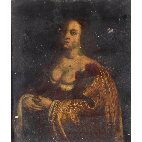 4 - <p>FOLLOWER OF SIR PETER PAUL RUBENS A NOBLEWOMAN oil on copper  with panel maker's stamp to the rev...