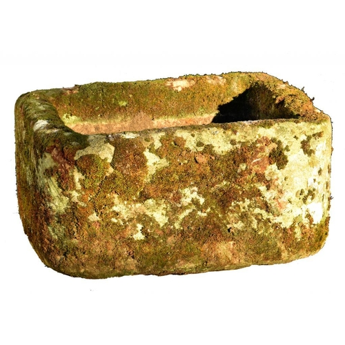 1108 - <p>AN ENGLISH SANDSTONE TROUGH AND TWO SIMILAR PUMP TROUGHS, ALL LATE 19TH C approximately 30-33cm h...
