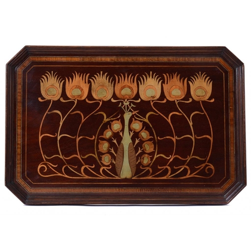 13 - <p>AN ENGLISH ART NOUVEAU MAHOGANY TEA TRAY WITH PENWORK DECORATION OF A PEACOCK, C1905  60cm w</p><...
