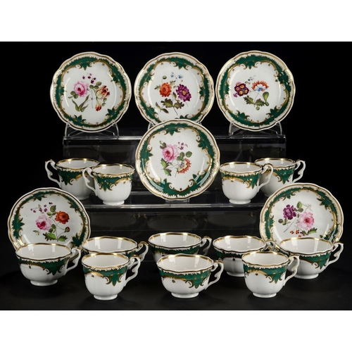 142 - <p>A SET OF SIX HICKS & MEIGH GREEN GROUND TEA AND COFFEE CUPS AND SAUCERS,  C1825  painted with flo...