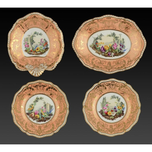 144 - <p>TWO H & R DANIEL DESSERT DISHES AND A PAIR OF PLATES EN SUITE, C1825  of Second Gadroon shape, pa...