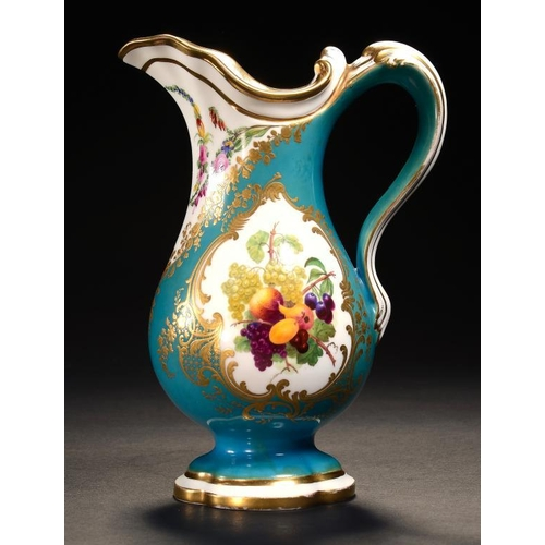 29 - <p>A COPELAND & GARRETT JUG IN SEVRES STYLE, C1838-47  painted with panels of fruit and flowers, 23c...