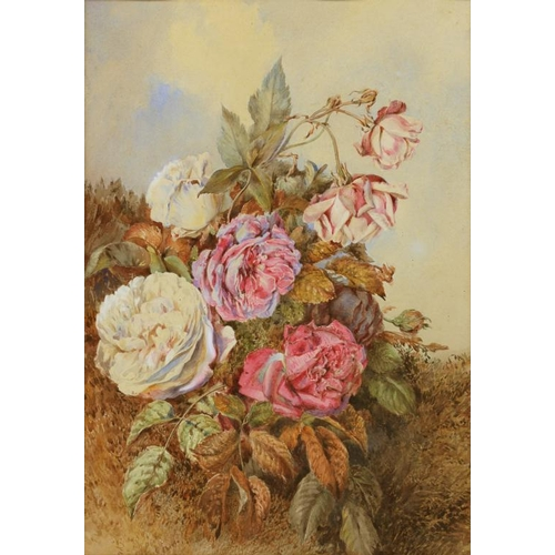 6 - <p>VICTORIAN SCHOOL  STILL LIFES OF ROSES AND OTHER FLOWERS  two, watercolour, 43 x 30cm and miscell...