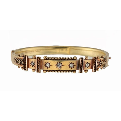 356 - <p>A DIAMOND GIPSY SET 15CT GOLD BRACELET,1903  maker EME, Birmingham hallmark, 12.8g</p><p></p>...
