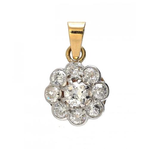 360 - <p>A DIAMOND CLUSTER PENDANT with gold loop, 1.1cm diam, 18g</p><p></p>...