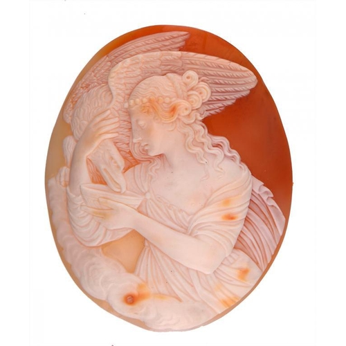 361 - <p>AN UNMOUNTED ITALIAN SHELL CAMEO OF HEBE, C1845  5.6 x 4.5cm, in contemporary leather covered cas...