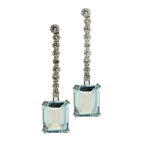 365 - <p>A PAIR OF AQUAMARINE AND DIAMOND EARRINGS with an articulated line of diamond collets and larger ...