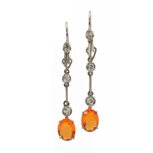 366 - <p>A PAIR OF DIAMOND AND FIRE OPAL EARRINGS in white gold, fully articulated, wire loops, 4.5cm, 3.2...