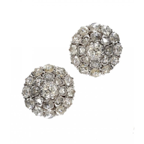 367 - <p>A PAIR OF DIAMOND CLUSTER EARRINGS with larger central old cut diamond, mounted in white gold, 1....