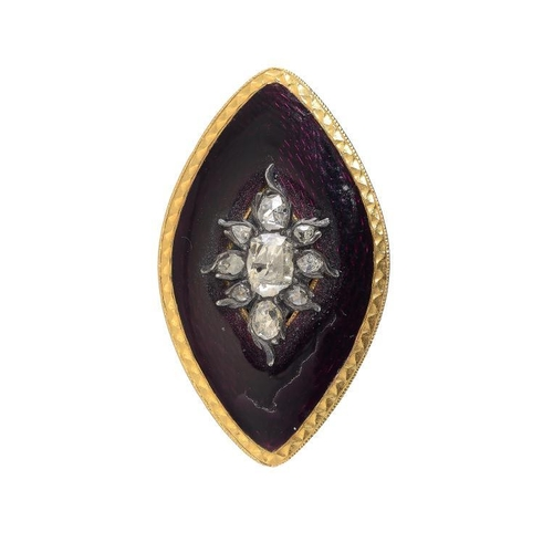 371 - <p>A ROSE DIAMOND SET GOLD AND PURPLE GUILLOCHE ENAMEL NAVETTE SHAPED BROOCH, EARLY 19TH C 3.6cm w, ...