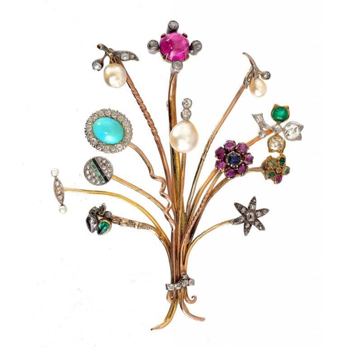 375 - <p>AN UNUSUAL MULTI GEM BROOCH, MID 20TH C MADE FROM EARLIER STICK PINS the terminals including diam...