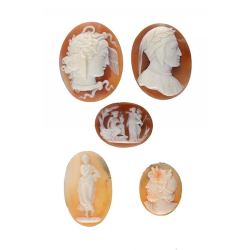 378 - <p>FIVE SHELL CAMEOS OF ZEUS, MERCURY, DANTE AND TWO OTHER SUBJECTS, ALL 19TH C  the largest 4cm h, ...