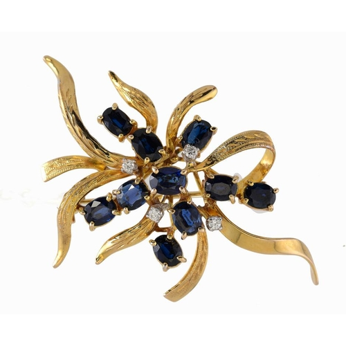 381 - <p>A CHINESE DIAMOND, SAPPHIRE AND GOLD SPRAY BROOCH, 20TH C  marked 14K 585 and WAHING, 4.9cm, 7.5g...