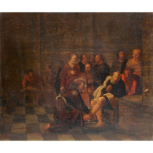 7 - <p>NORTHERN EUROPEAN SCHOOL, 18TH C  CHRIST WASHING THE DISCIPLES FEET  oil on oak panel, 29 x 34.5c...