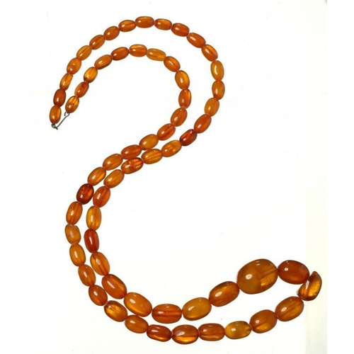 438 - <p>A NECKLACE OF 64 AMBER BEADS  62g</p><p></p>...