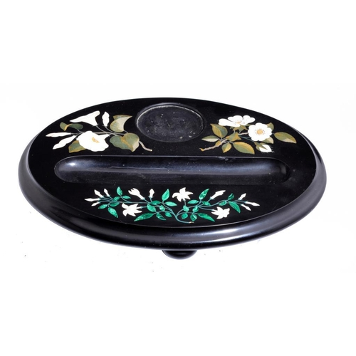 768 - A VICTORIAN ASHFORD BLACK MARBLE INKSTAND, C1870 inlaid in malachite and specimen marbles with three...