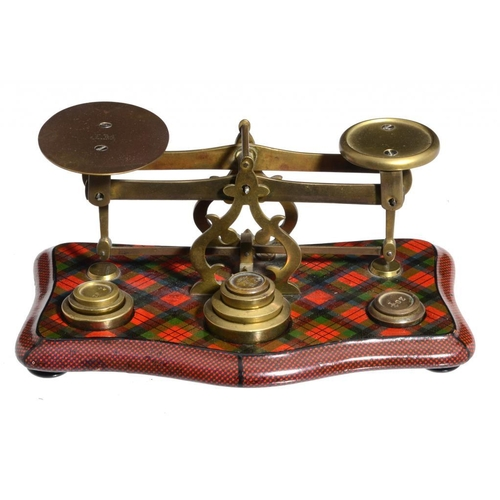 770 - A VICTORIAN BRASS AND TARTANWARE POSTAL BALANCE, C1860  the base  with M'Duff tartan, on turned feet...