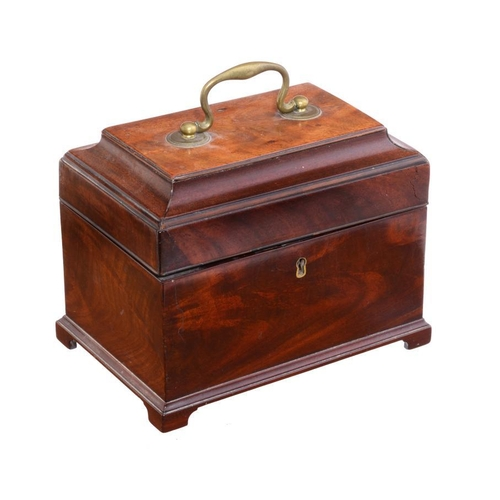 774 - A GEORGE III MAHOGANY TEA CADDY, C1780 the interior with barber pole stringing and divided into two ...