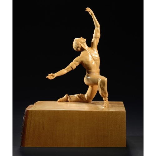 789 - GORDON C BROWN (2OTH/21ST CENTURY) LE CORSAIRE  signed and inscribed with the title, limewood, 39cm ...