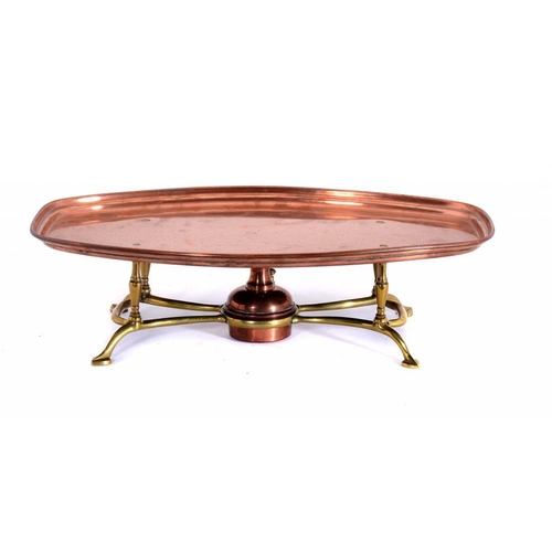 5 - <p>A W A S  BENSON & CO BRASS AND COPPER HOT PLATE, NO 722, EARLY 20TH C  with copper lamp, 47cm w, ...