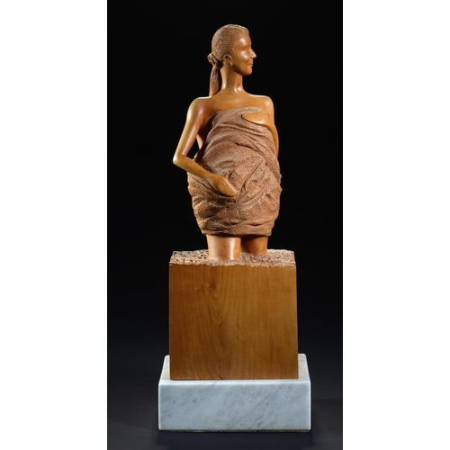 791 - GORDON C BROWN (2OTH/21ST CENTURY)THE BATHER  signed twice, limewood on marble plinth, 55cm h...