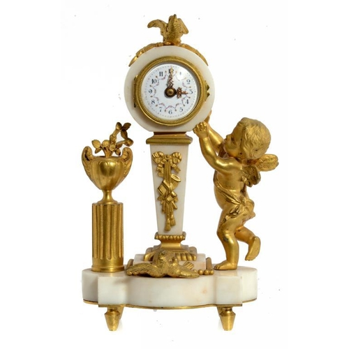 793 - A FRENCH ORMOLU AND MARBLE TIMEPIECE, C1900 in the form of Putto standing beside a clock on a pedest...