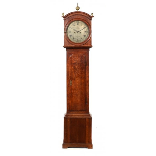 796 - AN OAK EIGHT DAY LONGCASE CLOCK BY JOHN WHITEHURST, DERBY, C1765  the finely engraved silvered dial ...