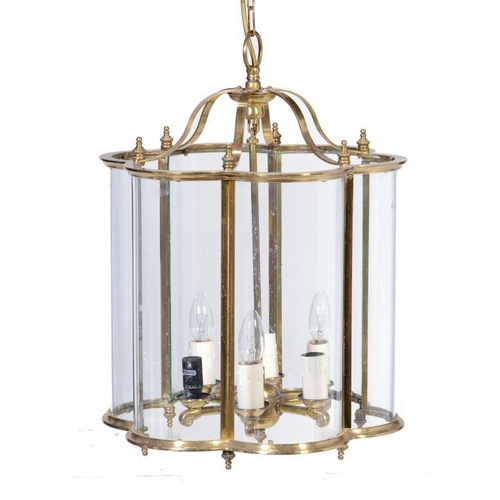 798 - A REGENCY STYLE BRASS HALL LANTERN, LATE 20TH C with central six light pendant, 55cm h