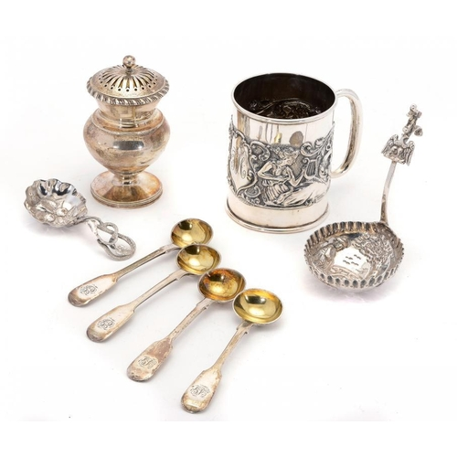 512 - A GEORGE IV THISTLE SHAPED SILVER CASTER AND COVER with gadrooned rim, 9cm h, by Rebecca Emes & Edwa...