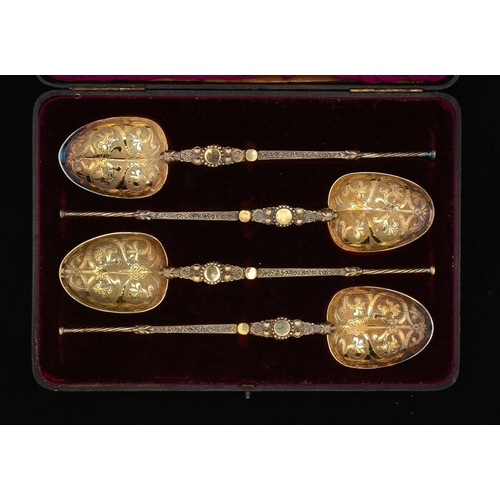 523 - A FINE SET OF FOUR VICTORIAN SILVER GILT REPLICAS OF THE ANOINTING SPOON 25.5cm l, by Edward Barnard...