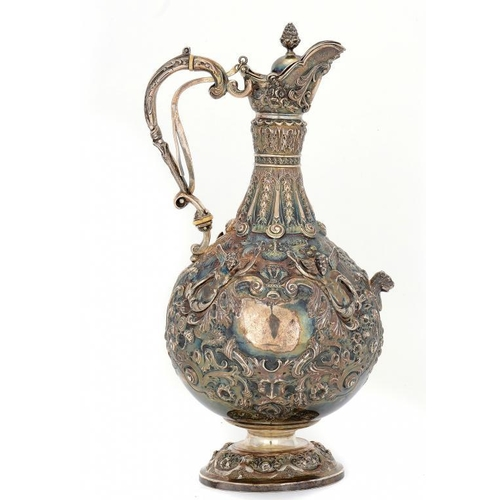 524 - A VICTORIAN SILVER CLARET JUG OF ARMADA PATTERN  31cm h, by Mappin Bros, London 1900, 28ozs...
